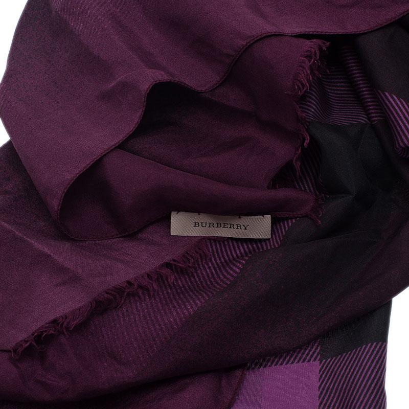 Burberry Purple Nova Check Silk Scarf