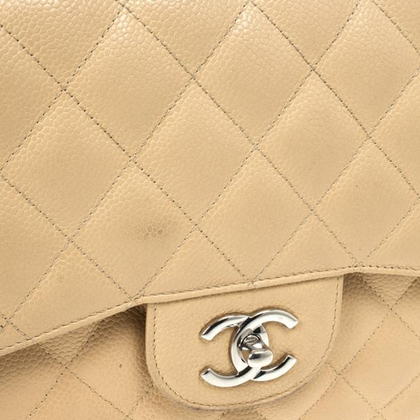 Chanel Beige Caviar Leather Jumbo Classic Flap Bag