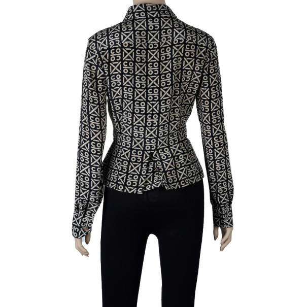 Chanel Printed Silk Shirt Top M
