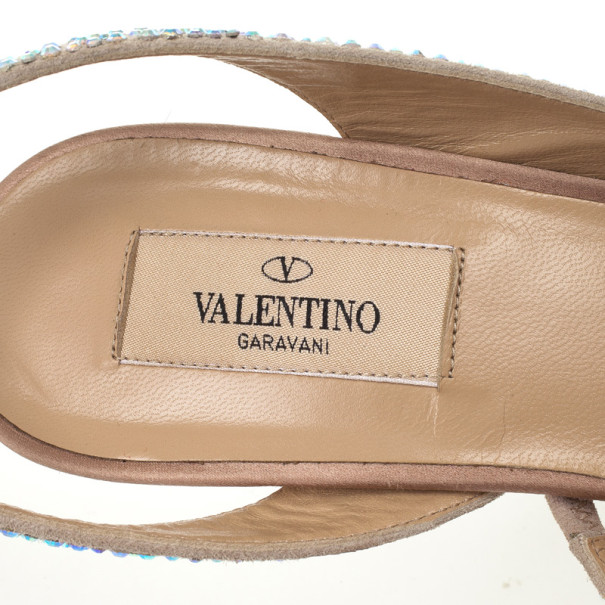 Valentino Crystal-Coated Suede Slingback Sandals Size 39