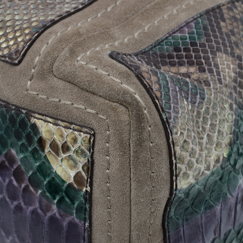 Jimmy Choo Tri Color Snakeskin Saba Hobo Bag