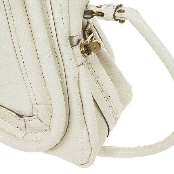Chloe White Leather Small Paraty Tote