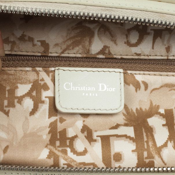 Christian Dior White Leather Medium Dior Detective Bag