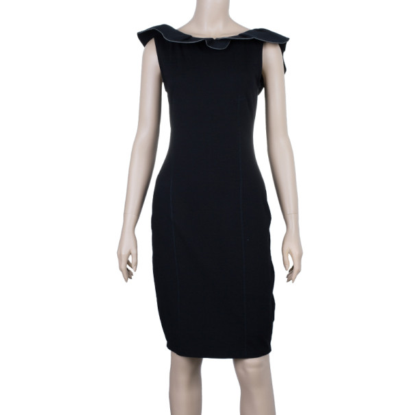 RED Valentino Black Ruffle Sheath Dress M