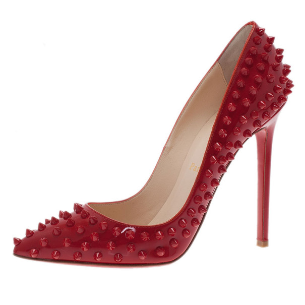 Christian Louboutin Red Patent Pigalle Spikes Pumps Size 38.5