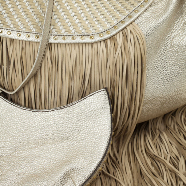 Versace Metallic and Ivory 'Couture Fringes' Hobo