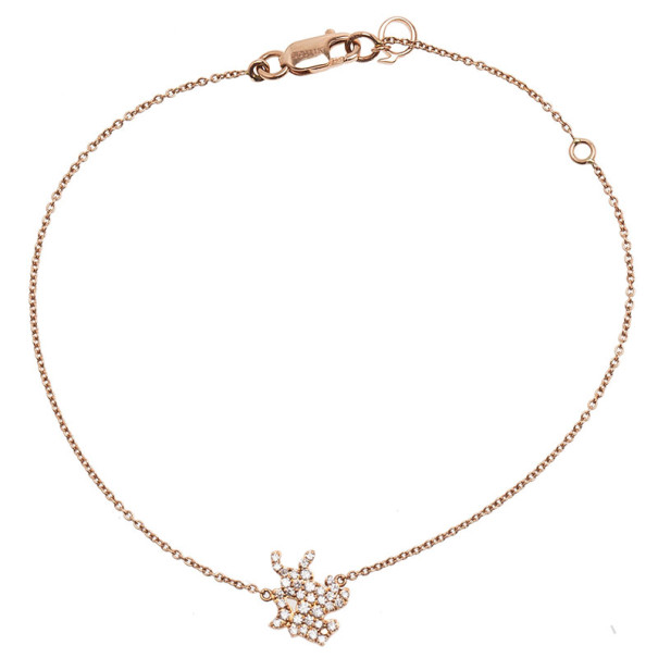 Qeelin Petite Horse Diamond 18K Rose Gold Bracelet 18CM