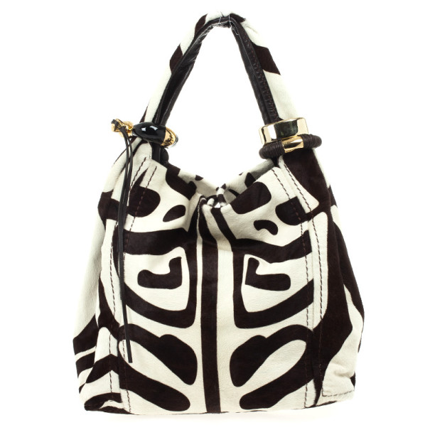 Jimmy Choo Brown and White Zebra Print Pony Hair Saba Large Hobo Bag