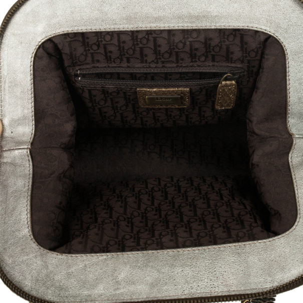 Christian Dior Python Grey Leather Boston Bag