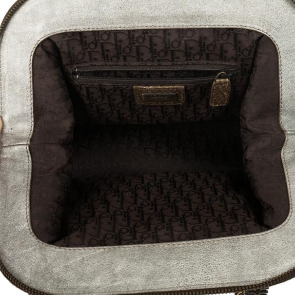 Christian Dior Python Grey Leather Boston Bag
