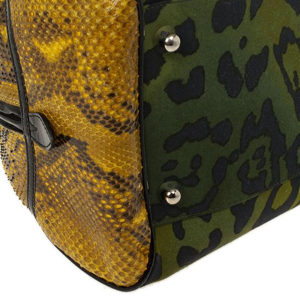 Christian Dior Green Canvas and Python Gambler Handbag