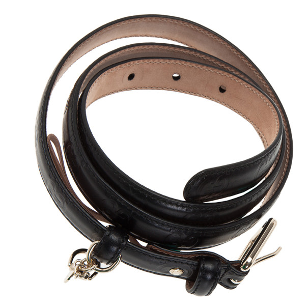 Gucci Black Guccissima Leather Skinny Belt 95CM