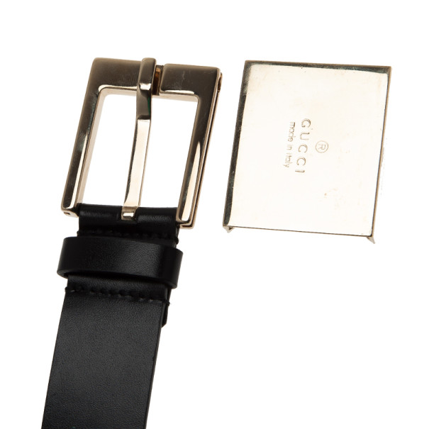 Gucci Black Leather Logo Plaque Belt 105CM