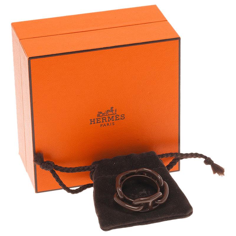 Hermes Brown Brass Regate Scarf Ring
