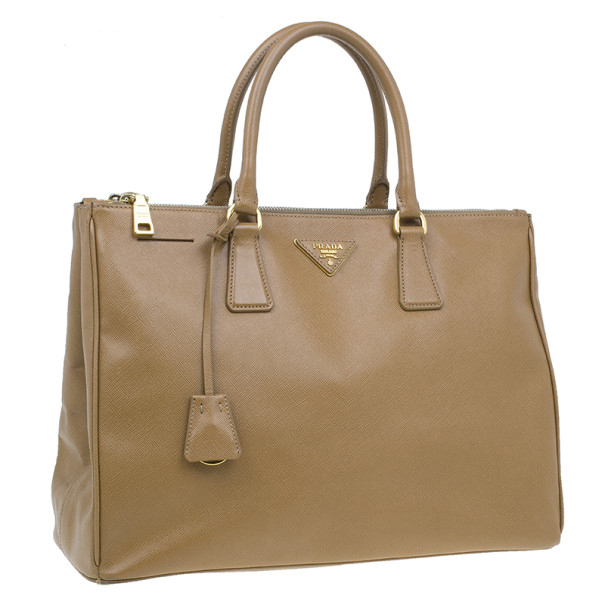 Prada Brown Saffiano Large Lux Double-Zip Tote