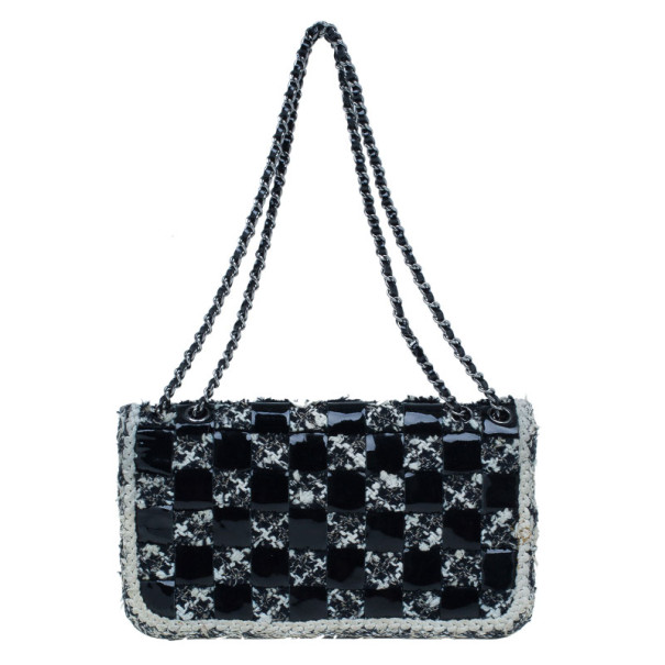 Chanel Black and White Tweed and Patent Leather Classic Checker Board Shoulder Flap
