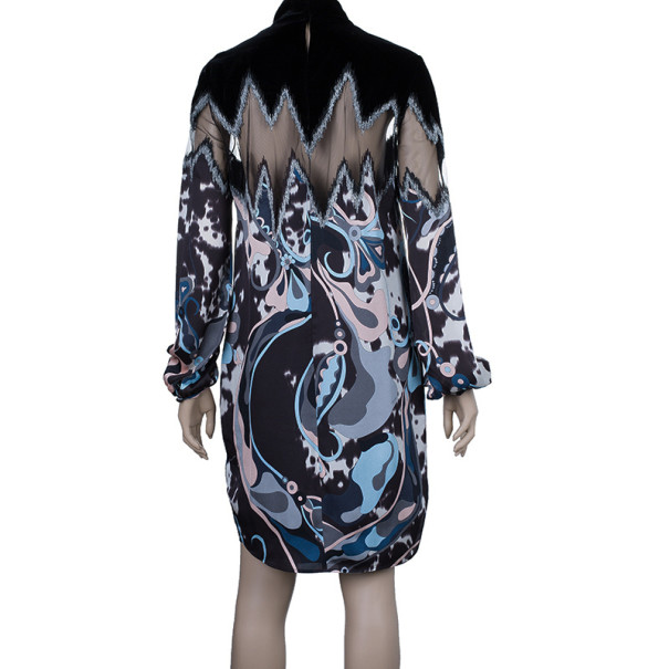 Emilio Pucci Printed Silk and Velvet Dress M