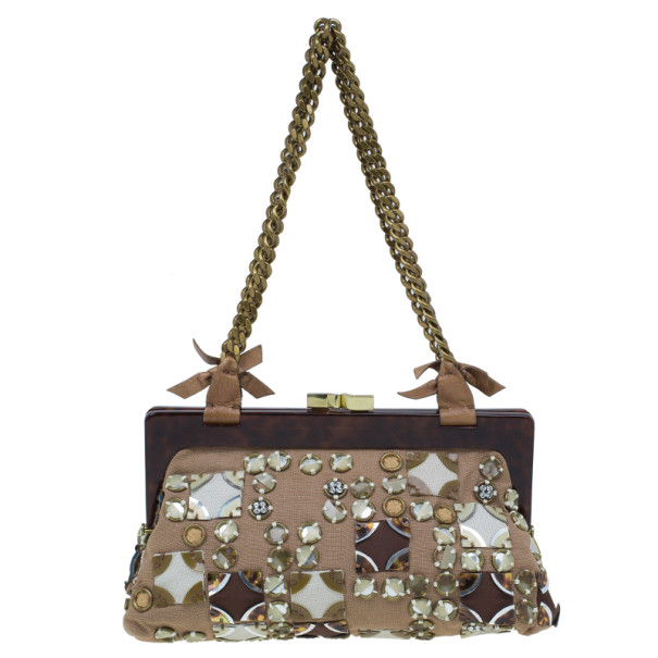 Chloe Nude Embellished Canvas Small Alice Shoulder Bag