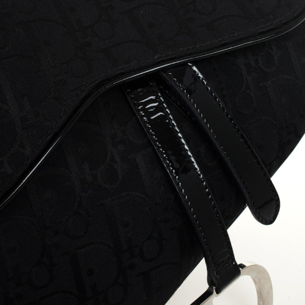 Christian Dior Black Monogram Canvas Saddle Bag