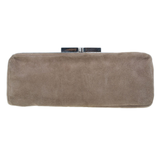 Chloe Beige Suede Embroidered Clutch