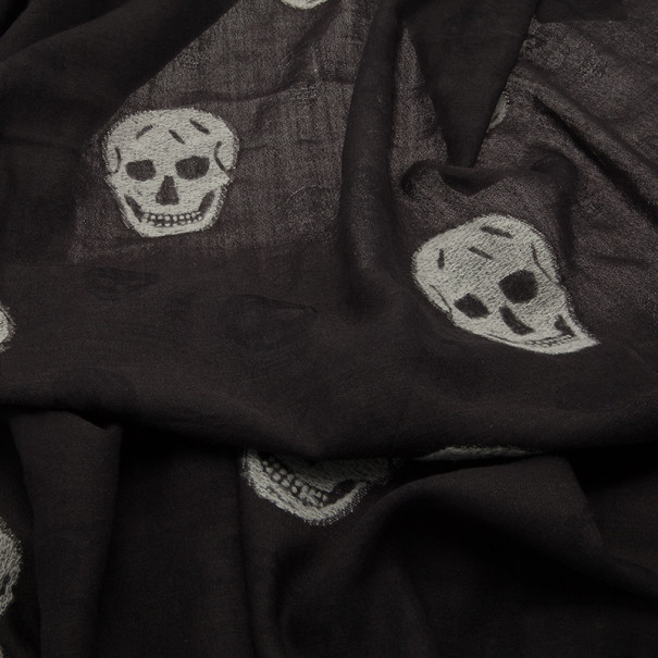 Alexander McQueen Black Silk Blend Skull Square Scarf