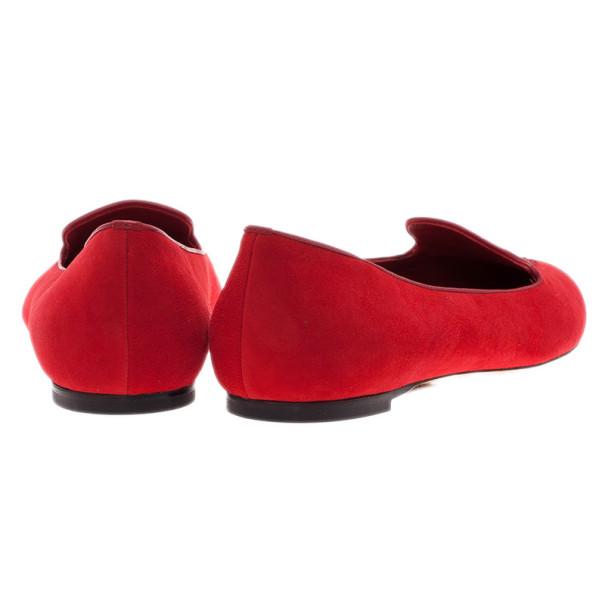 Alexander McQueen Red Suede Skull Smoking Slippers Size 40