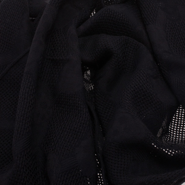 Alexander McQueen Black Silk and Wool Skull Scarf