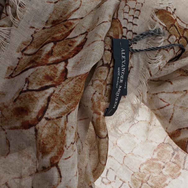 Alexander McQueen Beige Morphing Python Square Scarf