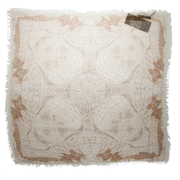 Alexander McQueen Beige Morphing Python Square Scarf