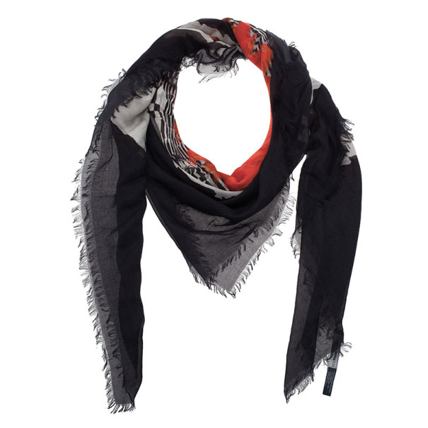 Alexander McQueen Orange and Black Skull Print Square Scarf