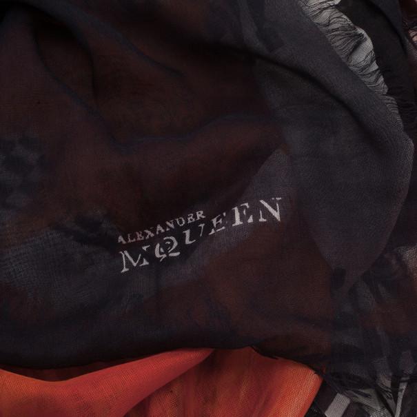 Alexander McQueen Orange and Black Skull Print Square Scarf