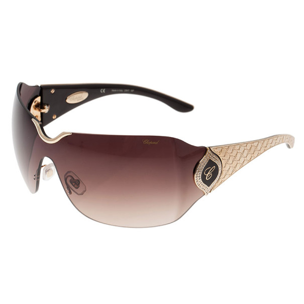 Chopard Gold Embossed SCH 883S Shield Sunglasses