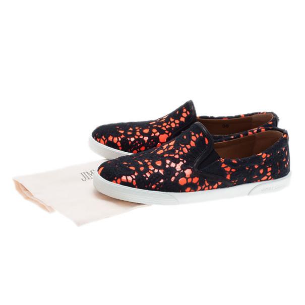 Jimmy Choo Neon Orange Lace Demi Loafers Size 38
