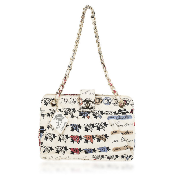 Chanel White Quilted Rue Cambon Tote