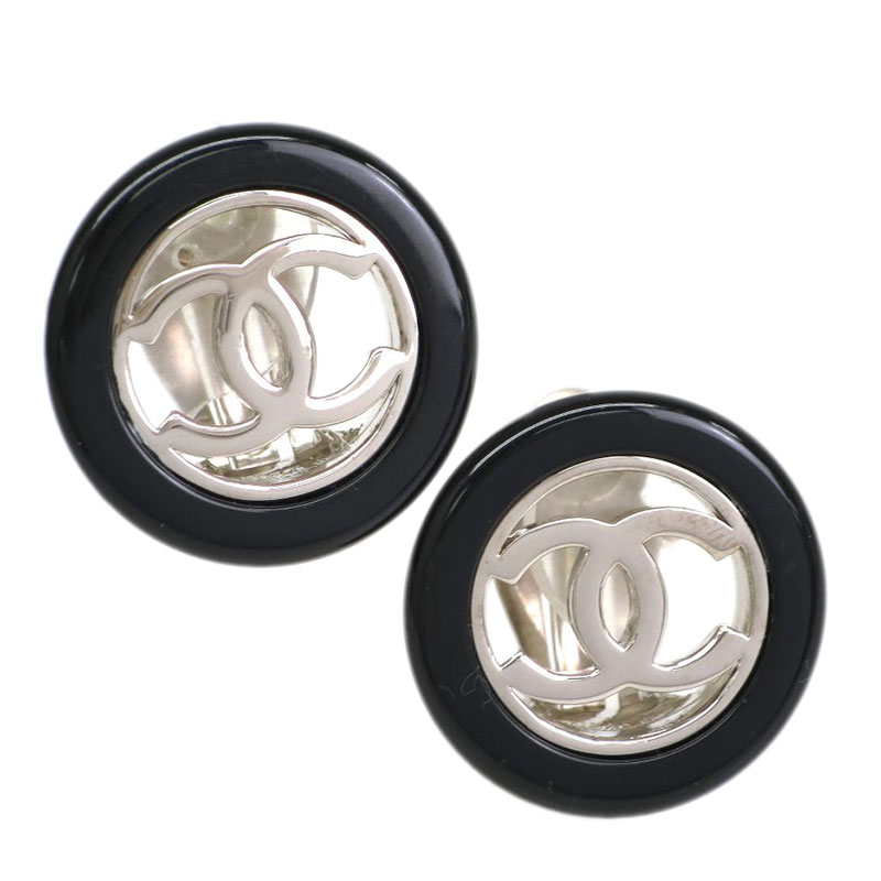 Chanel CC Round Black Resin Silver Tone Clip Earrings