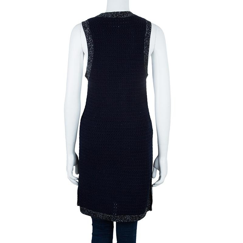 Chanel Navy Contrast Trim Sleeveless Cardigan S