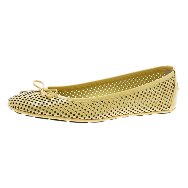 Jimmy Choo Yellow Patent Walsh Ballet Flats Size 39
