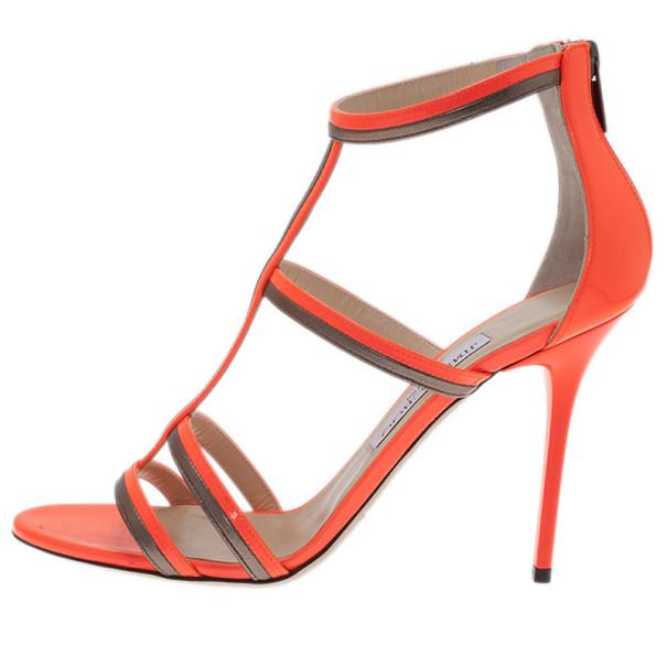 Jimmy Choo Neon Orange Thistle Sandals Size 38.5