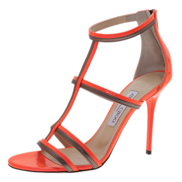 Jimmy Choo Neon Orange Thistle Sandals Size 38.5