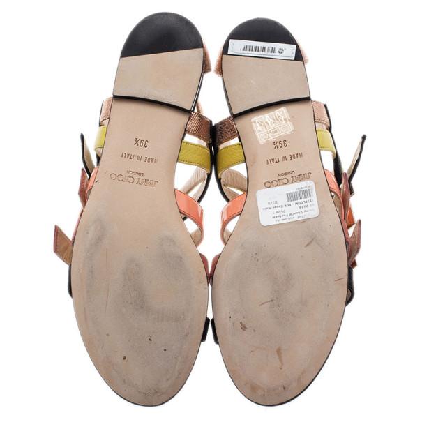 Jimmy Choo Mutlicolor Leather Bloom Gladiator Sandals Size 39.5
