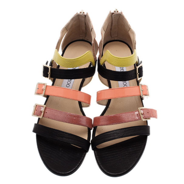 Jimmy Choo Mutlicolor Leather Bloom Gladiator Sandals Size 39.5
