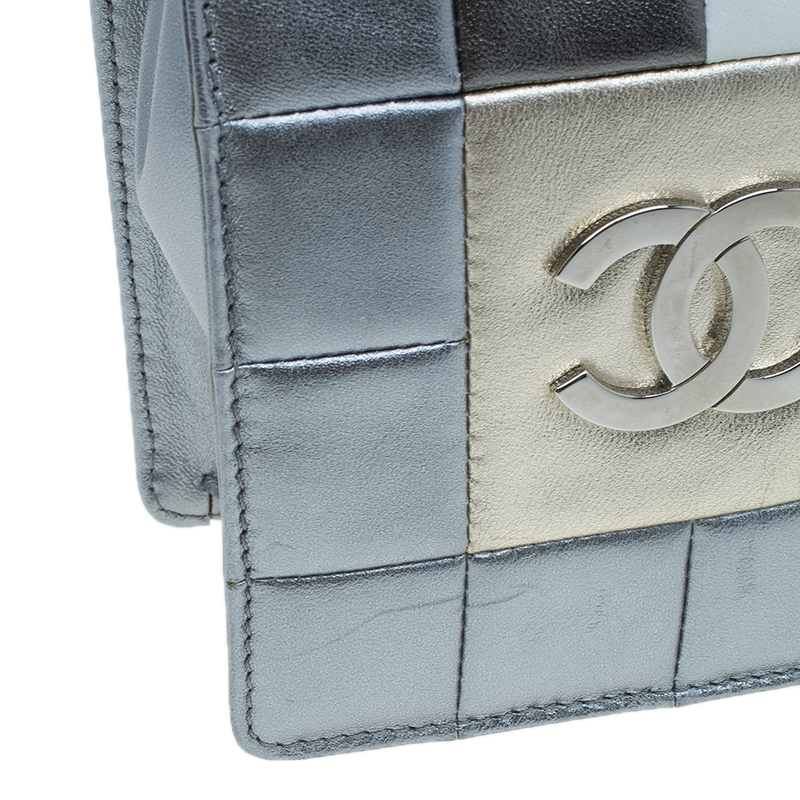 Chanel Silver Multicolor Square Quilted Wristlet Clutch