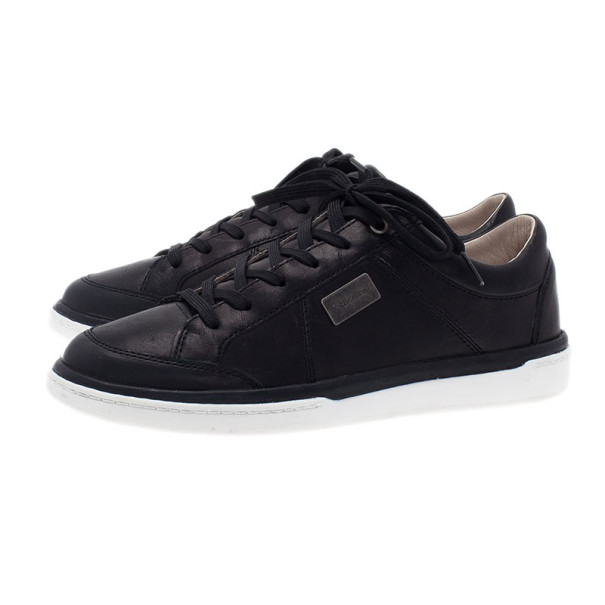 Dolce and Gabbana Black Leather Logo Plaque Sneakers Size 39