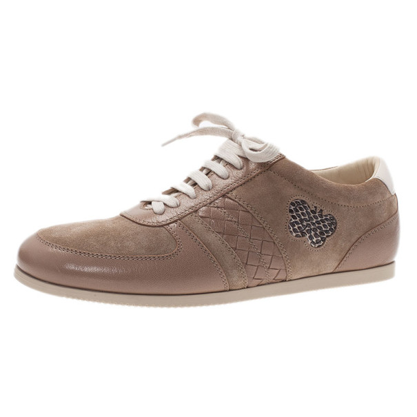 Bottega Veneta Beige Suede and Leather Butterfly Sneakers Size 41
