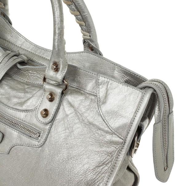Balenciaga Metallic Classic Silver City Bag