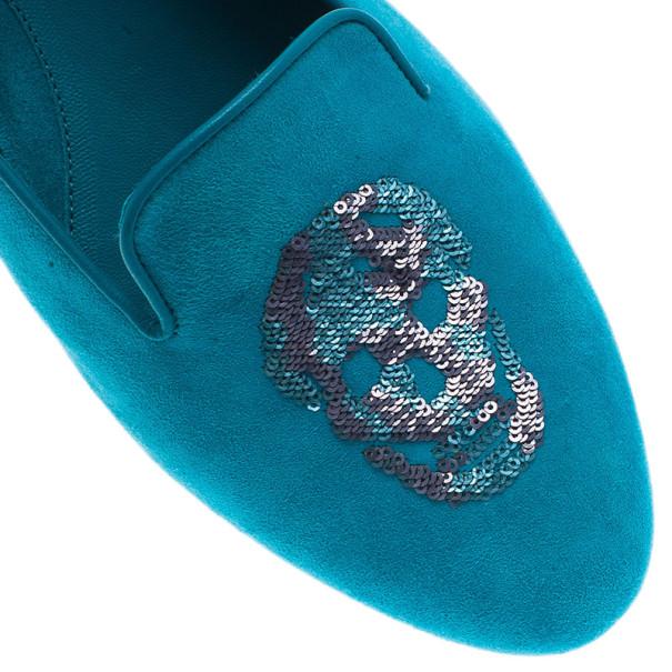 Alexander McQueen Blue Suede Skull Smoking Slippers Size 40