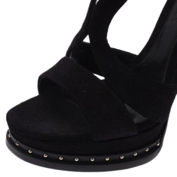 Alexander McQueen Black Suede Armadillo Studded Platform Sandals Size 40