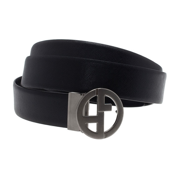 Giorgio Armani Black Leather Reversible One Size Belt 105CM