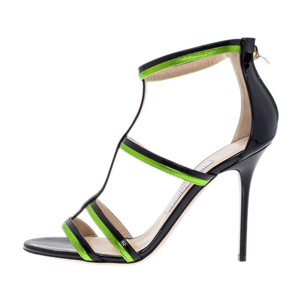Jimmy Choo Green and Black Thistle Sandals Size 37