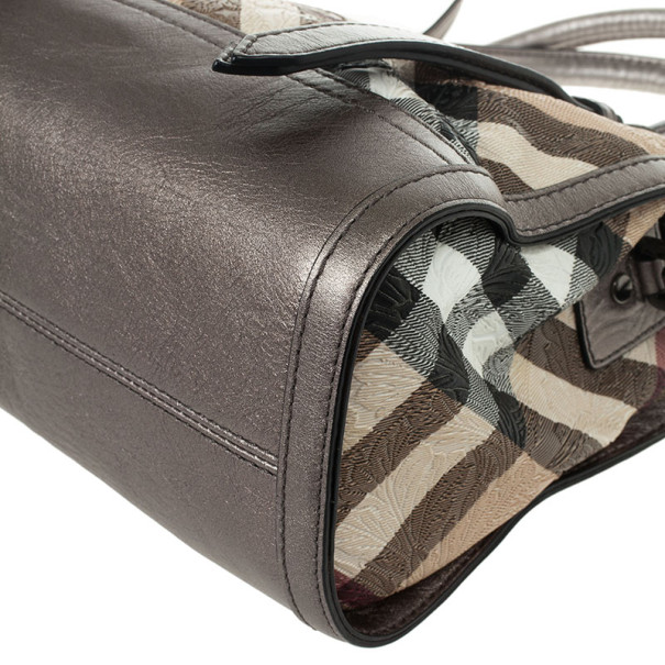 Burberry Nova Check Floral Embossed Boston Satchel